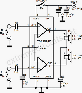 The TDA1519C from Philips contains two power amplifiers providing 11 W.