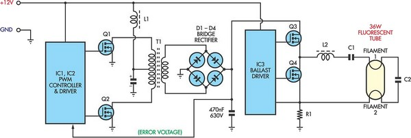 12v flourescent lamp inverter circuit diagram rh learningelectronics net