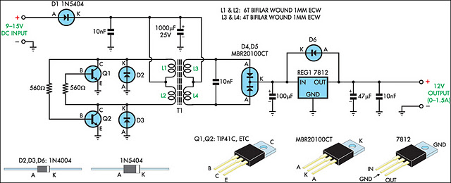 12v Regulated Inverter Supply Circuit Diagram