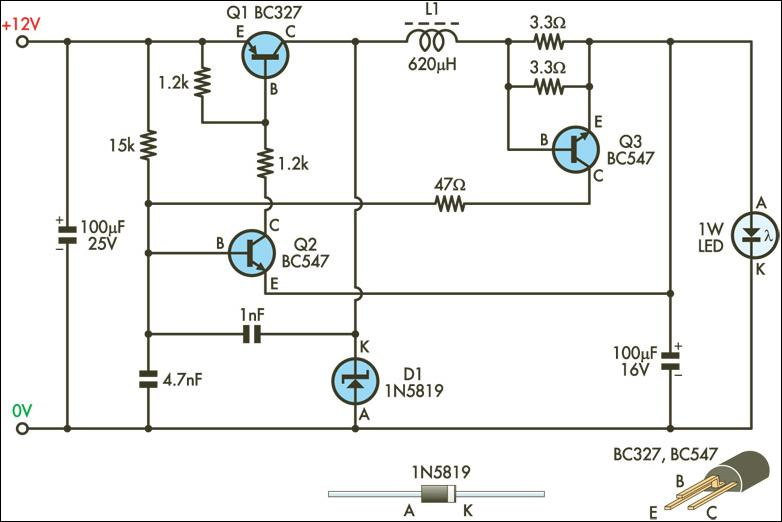 1W LED Driver Circuit Diagram