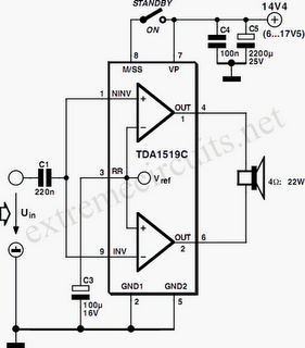 Circuit 11W Stereo/22W Mono Power Amp Using TDA1519C Schematics.