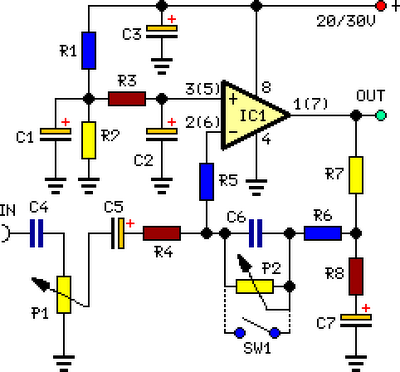 stereo preamplifier with bass boost circuit diagram, Circuit diagram