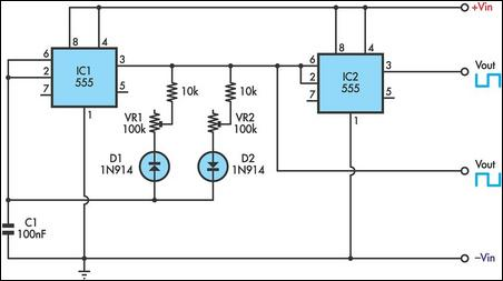 555 Timer Circuit With Variable On/Off Times Circuit Diagram