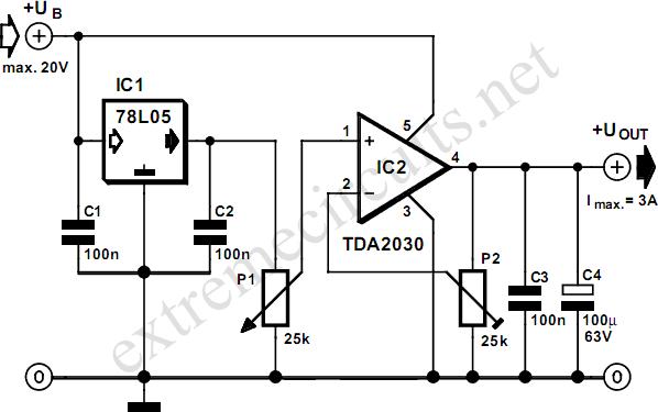 adjustable 3 ampere regulator circuit diagram