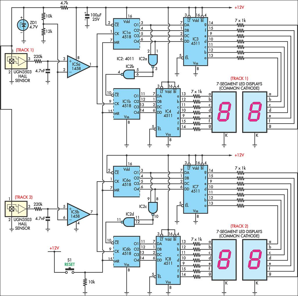 Digital Display Counters Schematic - Circuit Diagram Symbols •