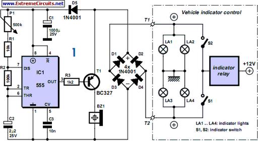 Audible Flasher Warning Circuit Diagram