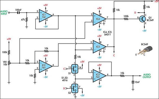 audio level threshold control circuit diagram rh learningelectronics net Electrical Diagram Schematic Symbols Wiring- Diagram