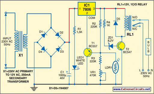 automatic light controller using 7806 circuit diagram rh learningelectronics net remote control light circuit diagram using 555 timer street light control circuit diagram