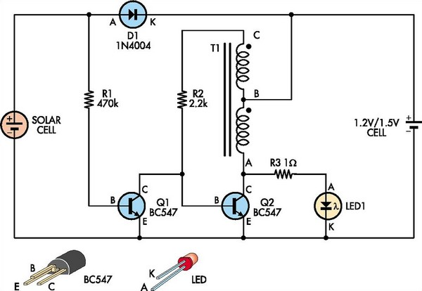 Automatic Solar Garden Light Circuit Diagram