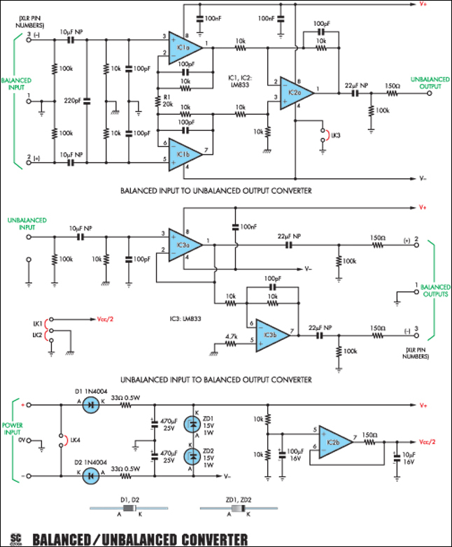 balanced unbalanced converter for audio work circuit diagram rh learningelectronics net Basic Electrical Wiring Diagrams Simple Wiring Diagrams