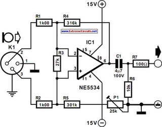 balanced microphone preamplifier circuit diagram 2 png rh learningelectronics net mic preamplifier circuit diagram mic pre circuit diagram