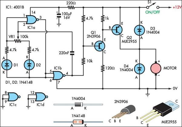 two basic motor speed controllers circuit diagram, wiring diagram