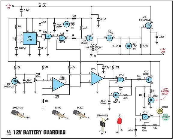 12 volt battery guardian circuit circuit diagram rh learningelectronics net