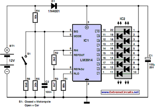 Car and Motorcycle Battery Tester Circuit Diagram