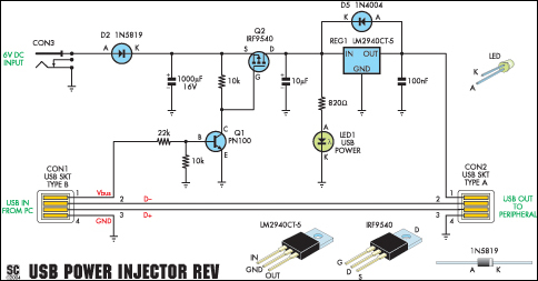 usb power injector for external hard drives circuit diagram circuit diagram description the revised usb power injector