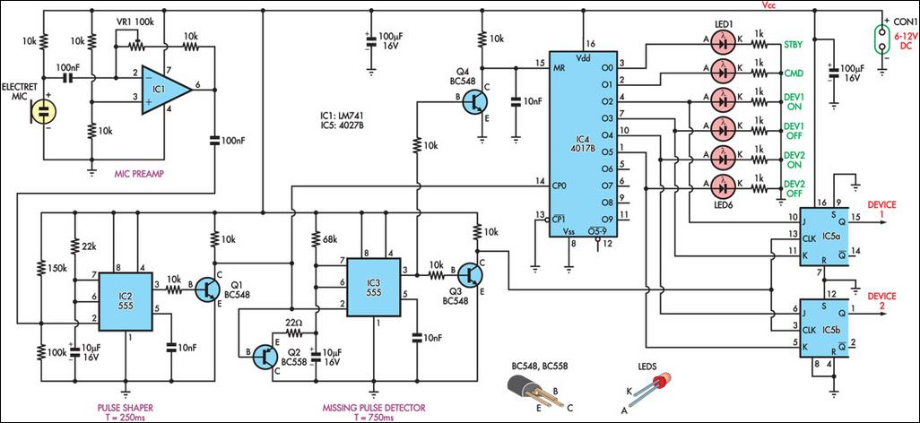 Clap Circuit Diagram | Clap Controlled Switch Circuit Diagram