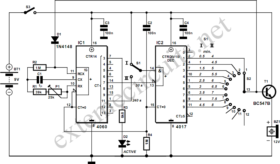 egg timer circuit diagram