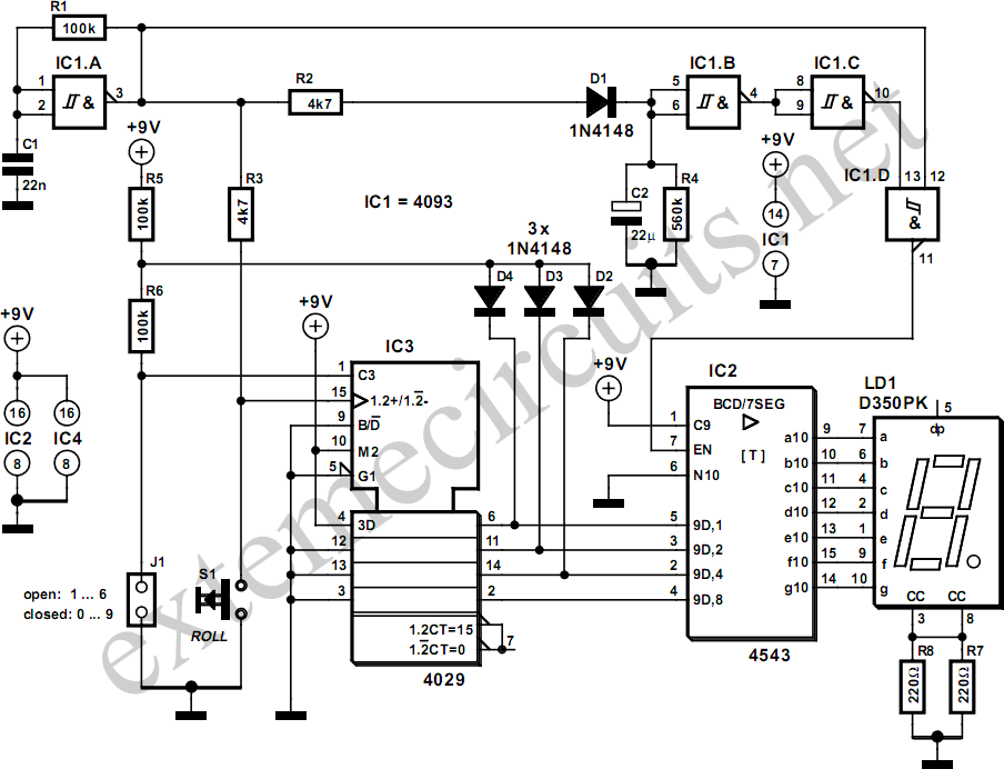 electronic die circuit diagram 2 png rh learningelectronics net Relay Circuit Schematic Relay Circuit Schematic