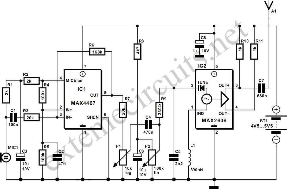 Wireless Headphone Transmitter And Receiver Circuit Diagram