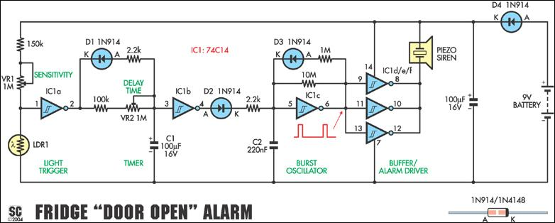 fridge door open alarm circuit project circuit diagram rh learningelectronics net project circuit diagram electronic project circuit diagram electronic