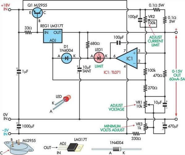 fully adjustable power supply circuit diagram. Black Bedroom Furniture Sets. Home Design Ideas
