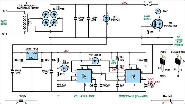 halogen lamp dimmer with soft start circuit diagram rh learningelectronics net