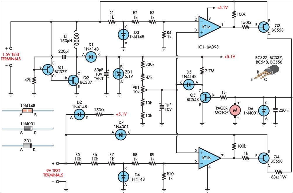 improved vibrating battery tester circuit diagram rh learningelectronics net
