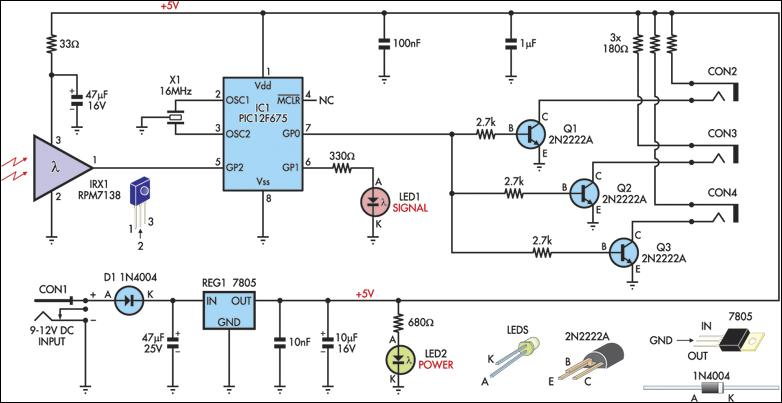 infrared remote extender circuit diagram rh learningelectronics net infrared led circuit diagram infrared led circuit diagram