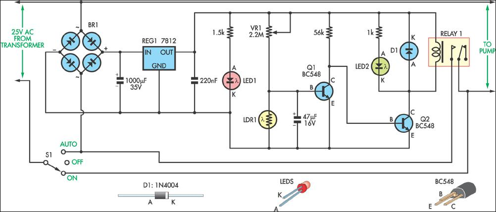 light controlled pond pump circuit diagram rh learningelectronics net photocell sensor circuit diagram Simple Photocell Diagram