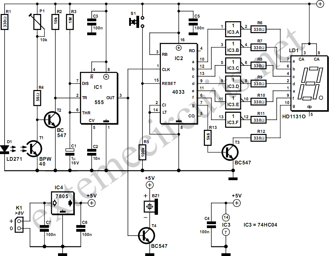 Counter Circuit Meter Circuits Nextgr Wiring Diagrams Page 3 Images Gallery Light Gate With Using 555 And 4033 Diagram Rh Learningelectronics Net