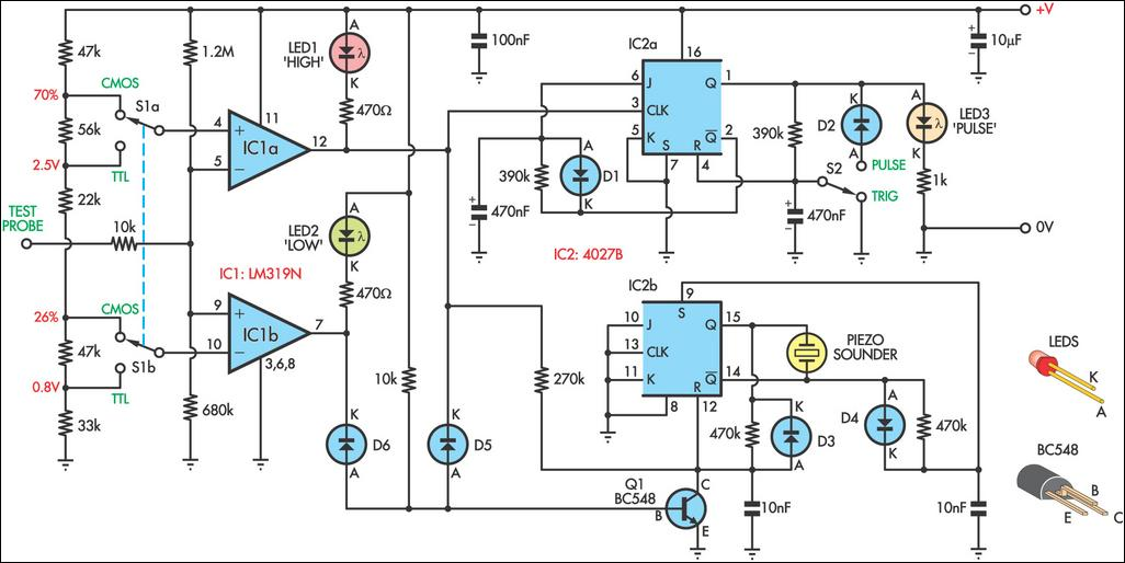 logic probe with sound circuit diagram rh learningelectronics net logic tester circuit diagram logic circuit diagram maker