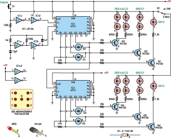 low cost dual digital dice circuit diagram rh learningelectronics net Digital Dice Game circuit diagram of electronic dice