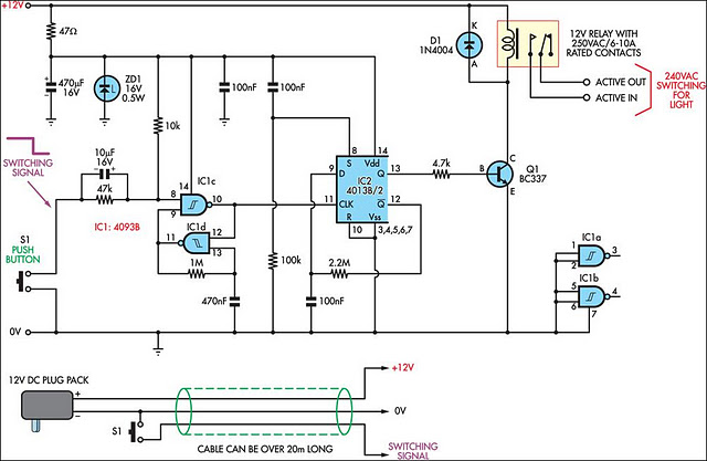 Simple Remote Control Mains Switch Electronic Circuits Diagram