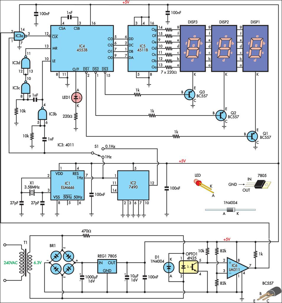 Frequency Counter Schematic Diagram : Mains frequency monitor circuit diagram