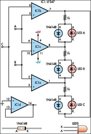 maximum minimum voltage indicator circuit diagram