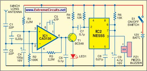 Mobile Bug Detector Circuit Diagram
