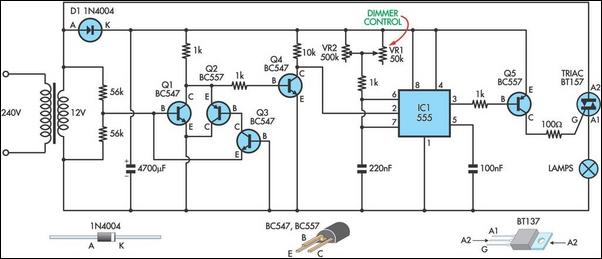 model theatre lighting dimmer circuit diagram rh learningelectronics net LED Dimmer Circuit Oscillator Circuit Schematic