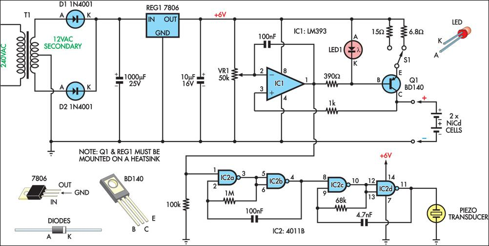 Nicad Charger Uses Voltage Cut-Out Circuit Diagram