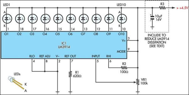 novel white led torch circuit diagram rh learningelectronics net LM3914 Assembled lm3914 vu meter circuit diagram