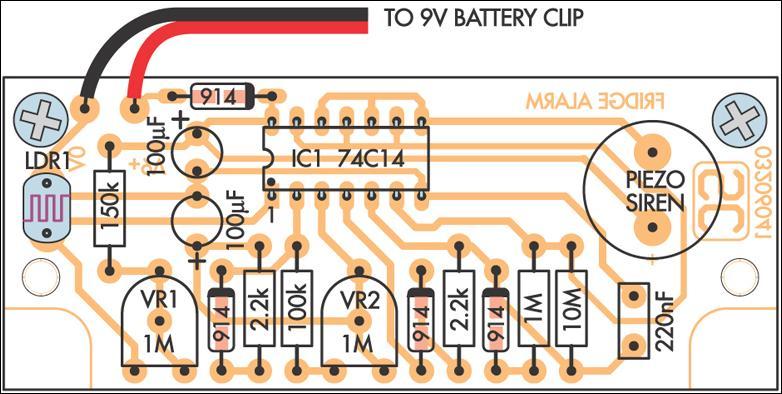 Fridge-Door Open Alarm Circuit Project Circuit Diagram