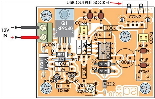 Low power carbike usb charger circuit diagram parts layout low power car bike usb charger ccuart Image collections