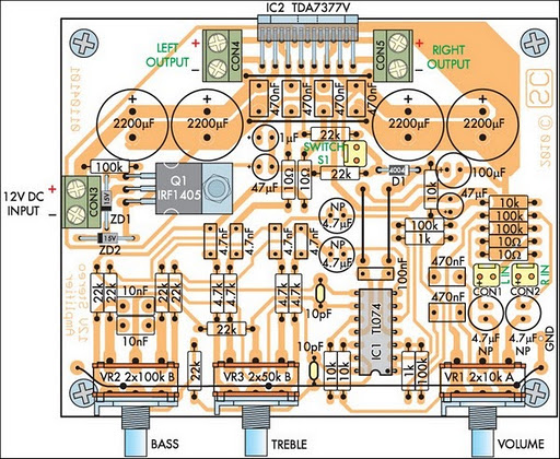 Amplifiers Circuit Diagram | Compact High Performance 12v 20w Stereo Amplifier Circuit Diagram