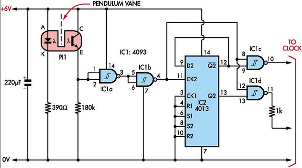 pendulum-controlled clock circuit schematic