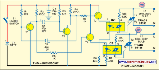 portable lamp flasher circuit diagram rh learningelectronics net
