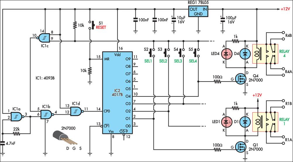 pushbutton relay selector circuit diagram rh learningelectronics net Simple Relay Circuit Diagram Alternating Relays Circuits Diagram
