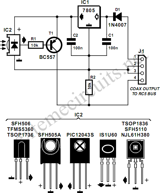 rc5 repeater circuit diagram rh learningelectronics net USB 3 Cable USB Upstream Cable
