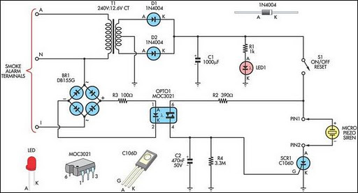 how to make smoke detector alarm circuit readingrat net Smoke Detector Wiring Schematic remote alarm for smoke detector circuit diagram, circuit diagram smoke detector wiring schematic