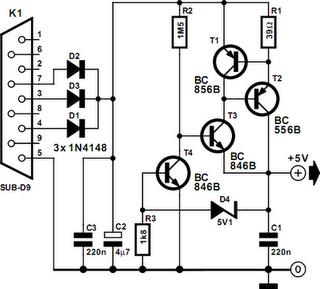 rs232 voltage regulator circuit diagram