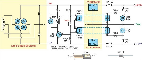 short circuit protection for balanced supply rails circuit. Black Bedroom Furniture Sets. Home Design Ideas