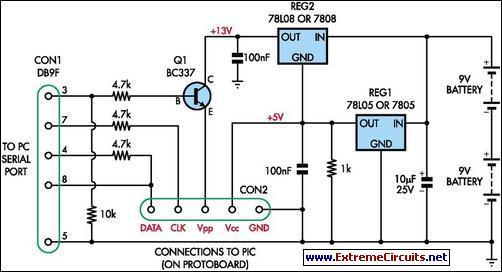 Simple Universal Pic Programmer Circuit Diagram